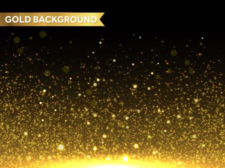 Vector de oro brillo partículas de efecto de fondo para la tarjeta de felicitación rica de lujo. Textura con gas. polvo de estrellas chispas en explosión en fondo negro. Ilustración de vector