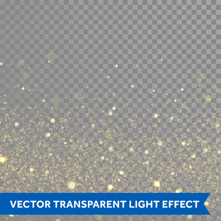 Vector gold glitter particles background effect  for luxury greeting rich card. Sparkling glamour fashion texture. Star dust sparks in explosion on black background. Stock Illustratie