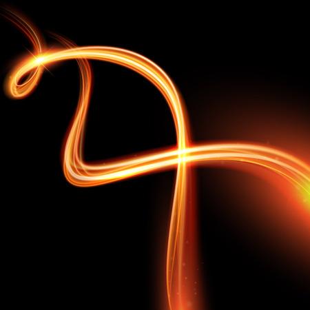 검은 배경에 불꽃 소용돌이 흔적을 추적 효과 빛나는 벡터 마법. 반짝이는 플래시 조명을 비행 나뭇잎 반짝이 화재 나선형 웨이브 라인.