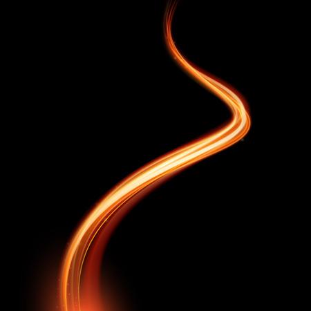 Vector mágica chispa remolino efecto de estela curva del humo que brilla intensamente en fondo negro. espiral de fuego línea de onda de vapor de bokeh brillo con el vuelo de las luces de destello brillantes.