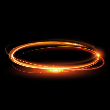 Vector círculo mágico de oro. Resplandeciente rastro anillo de fuego. La chispa del brillo efecto de estela de turbulencia sobre fondo negro. Bokeh brillo de onda de línea redonda con volar las luces de destello brillantes.