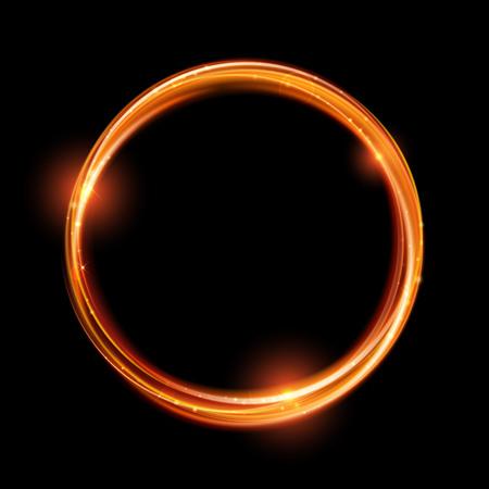 Vector círculo mágico de oro. Resplandeciente rastro anillo de fuego. La chispa del brillo efecto de estela de turbulencia sobre fondo negro. Bokeh brillo de onda de línea redonda con volar las luces de destello brillantes. Ilustración de vector