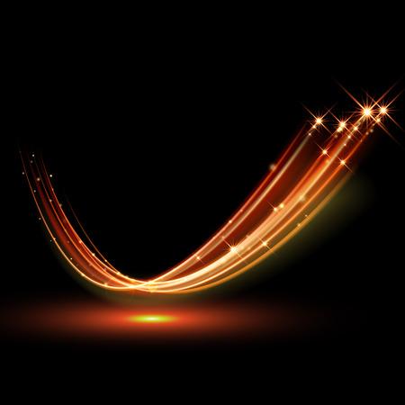magia: magia vector de brillante chispa remolino efecto de traza de camino en el fondo negro. bokeh línea de onda de brillo fuego con volar las luces de destello brillantes. Vectores