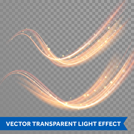 Vector magic glowing spark swirl trail trace effect on transparent background. Bokeh glitter wave line with flying sparkling flash lights.