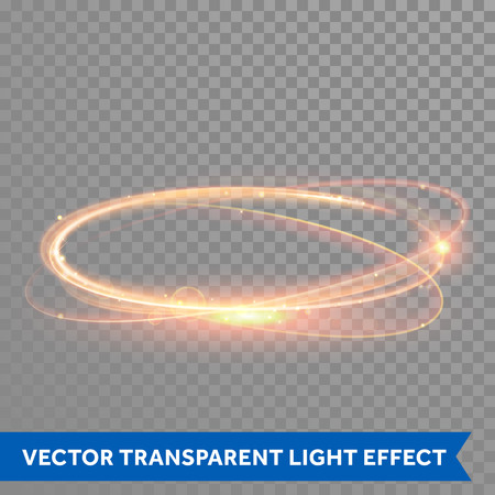 Vector magic gold circle. Glowing fire ring trace. Glitter sparkle swirl trail effect on transparent background. Bokeh glitter round wave line with flying sparkling flash lights. Vettoriali