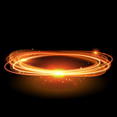 Vector Magie Gold wirbeln. Glühende Feuerkreis Spur. Glitter Glanz wirbeln Spur Effekt auf schwarzem Hintergrund. Bokeh Glitzern runde Welle Linie mit Spinn funkelnde Blitzlichter.