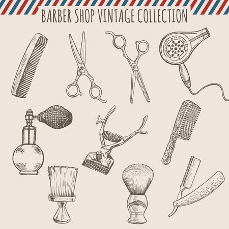 ベクトル櫛、はさみ、毛トリマー、かみそり、シェービング ブラシ、アトマイザーの床屋の店のビンテージ ツールのコレクション。鉛筆手描き下ろ