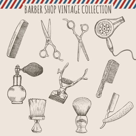 Vector barber shop vintage tools collection of comb, scissors, hair trimmer, razor, shaving brush and atomizer. Pencil hand drawn illustration. Freehand style. Imagens - 52890100