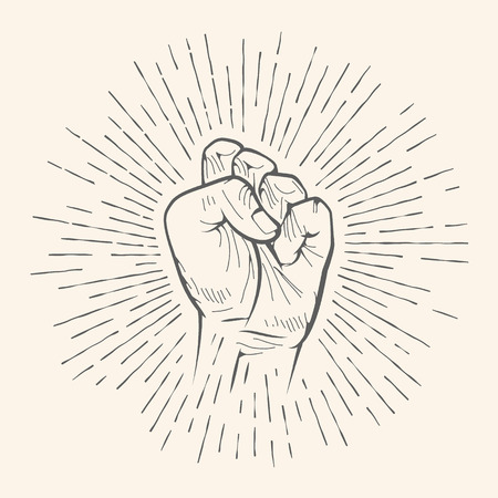 chuckle: Vector fist gesture. Rough chuckle hand drawn sign. Vector pencil sketch illustration. Isolated on white background. Illustration