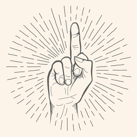 obscene gesture: Vector hand gesture. Obscene Fuck off hand drawn sign. Vector pencil sketch illustration. Isolated on white background.