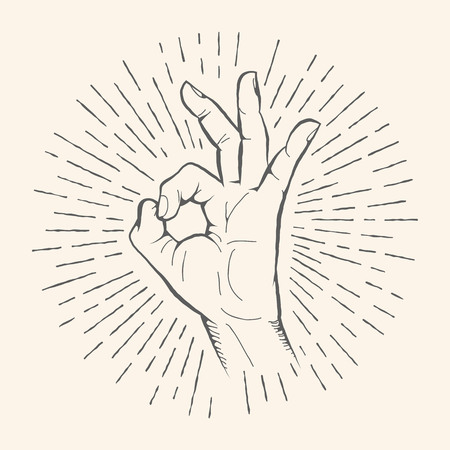 all right: Vector OK hand gesture. Allright hand drawn sign. Vector pencil sketch illustration. Isolated on white background.