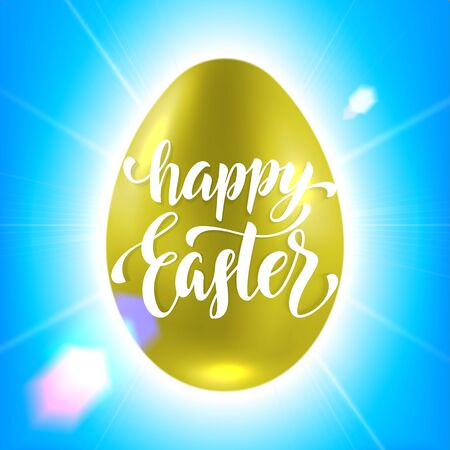 golden egg: Vector Easter golden egg poster calligraphy on blue sky background with lens flare shining beams. Freehand drawn illustration with lettering title Illustration