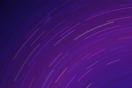 galaxie: Vector Sternspuren. Lange Belichtungseffekt der Nachthimmel in Bewegung. Space galaxy Scheinwerfer Spur. Astrofotografie Tapete.
