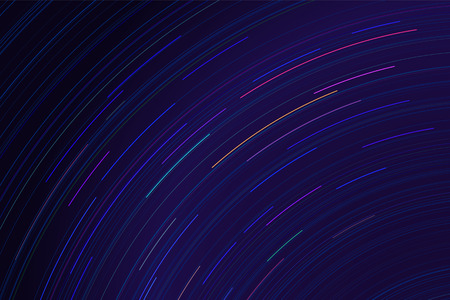 long night: Vector star trails. Long exposure effect of night sky in motion. Space galaxy lights trace. Astrophotography wallpaper.