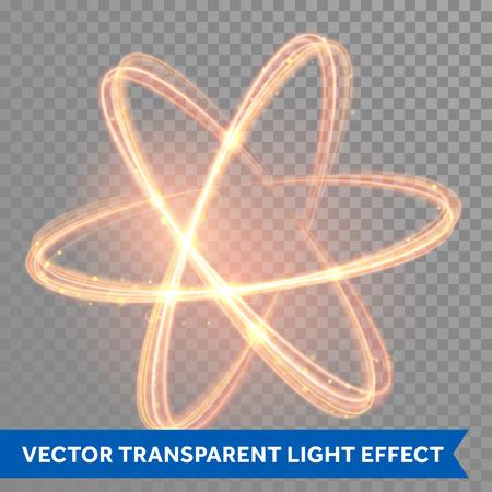 Magia vector de brillante luz remolino efecto de traza de camino en el fondo transparente. línea de onda bokeh brillo chispa de fuego en espiral con el vuelo de las luces de destello brillantes. forma átomo. Foto de archivo - 53298716