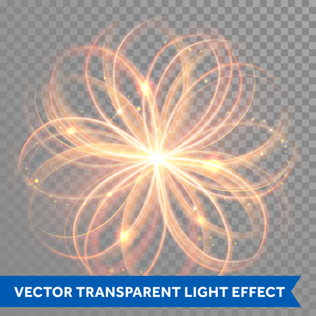 Vector magic glowing light flowery swirl with trail trace effect on transparent background. Bokeh glitter fire spark spiral wave line with flying sparkling flash lights. Atom form.