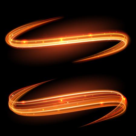 espiral: magia vector de brillante luz remolino efecto de traza de camino en el fondo negro. línea de onda bokeh brillo chispa de fuego en espiral con el vuelo de las luces de destello brillantes.