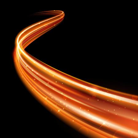 Vector magic incandescente scintilla girandola effetto scia traccia su sfondo nero. Bokeh scintillio fuoco onda linea a spirale con volare luci flash scintillanti. Vettoriali