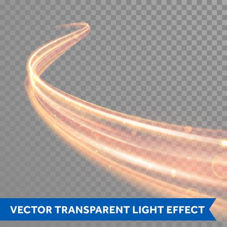 Vector magic glowing spark swirl trail trace effect on transparent background. Bokeh glitter fire spiral wave line with flying sparkling flash lights.