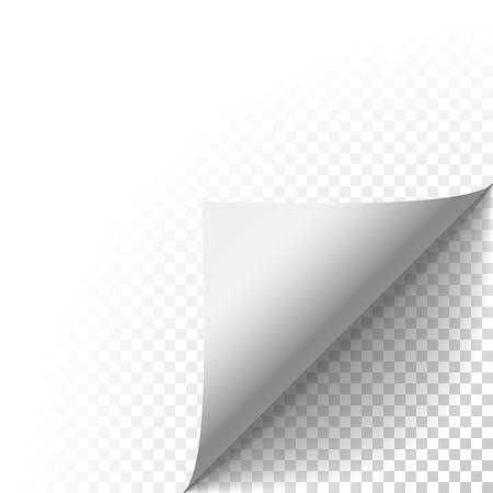 coin papier pelure. Page recroquevillé pli avec l'ombre. Feuille blanche pliée note collante papier. Vector illustration autocollant peeling pour la publicité et le message promotionnel isolé sur fond transparent.