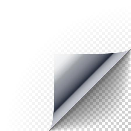 종이 모서리 껍질. 실버 메탈릭 페이지는 그림자와 배 이어졌다. 접힌 스티커 용지 노트의 빈 시트. 투명 배경에 홍보 메시지에 대한 스티커 껍질 요소 일러스트