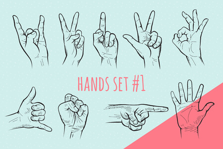 Vector hand gesture set. Pencil drawn signs sketch illustration on blue background. Vettoriali