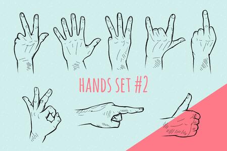 Vector hand gebaar te stellen. Potlood getrokken tekenen schets illustratie op blauwe achtergrond.