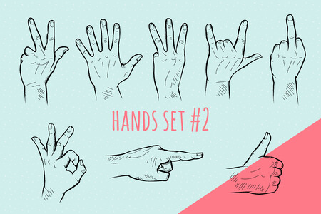 Vector hand gesture set. Pencil drawn signs sketch illustration on blue background. Ilustração