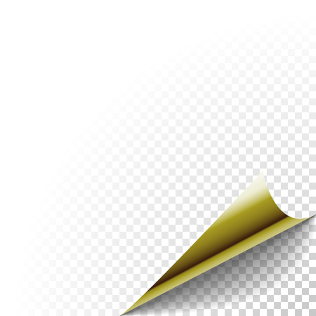 peel: Paper corner peel. Gold metallic page curled fold with shadow. Blank sheet of folded sticky paper note. Vector illustration of sticker peel element for advertising message on transparent background. Illustration