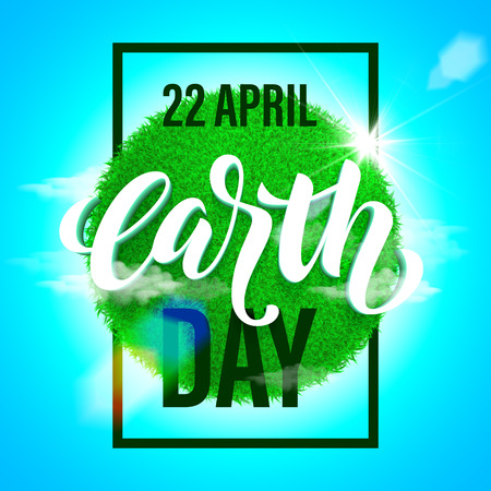 green environment: Earth Day poster with title. Vector lettering illustration of green globe planet with grass, sun light and blue sky. Save environment green concept. Illustration