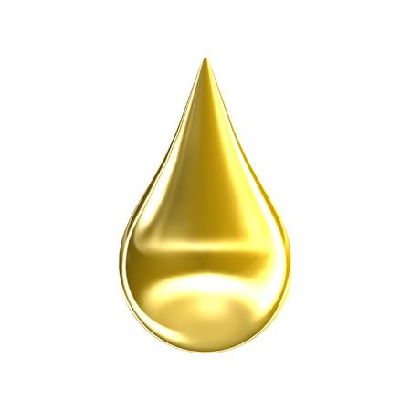 Gold-Öltropfen auf weißem Hintergrund. 3D golden Argan Essenz Tropf-Symbol. Standard-Bild