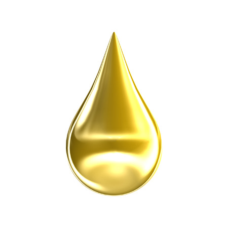 mineral oil: Gold oil drop isolated on white background. 3D golden argan essence drip icon.