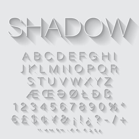 Thin Line alfabet set met schaduw. Latijnse letters, cijfers en speciale tekens