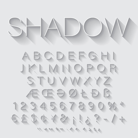 alphabets: Thin Line alphabet set with shadow. Latin letters, numbers and special symbols