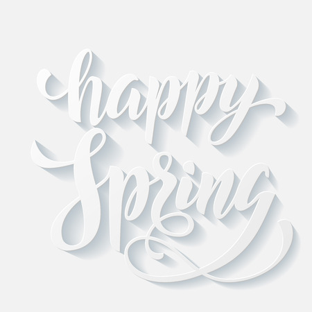 flowery: Vector Happy Sring poster. Hand drawn title greeting card. Calligraphy lettering design with flowery background.