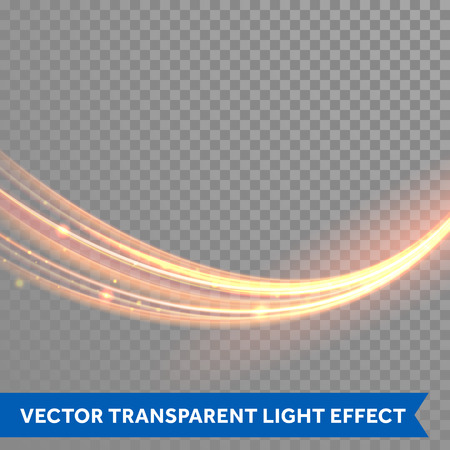 Vector magic glowing light trail. Fiber spark wave trace effect on transparent background.