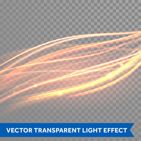 light effect: Vector magic glowing light trail. Fiber spark wave trace effect on transparent background.