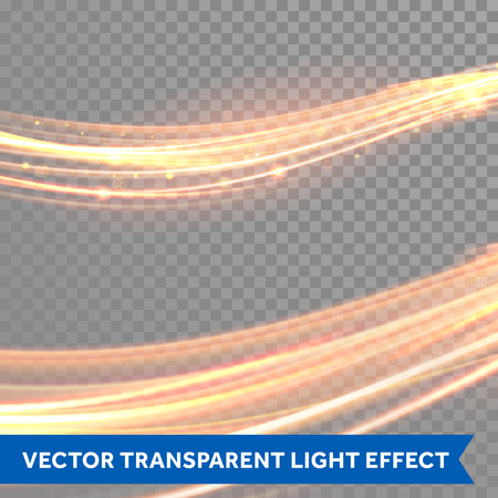 glowing: Vector magic glowing light trail. Fiber spark wave trace effect on transparent background.