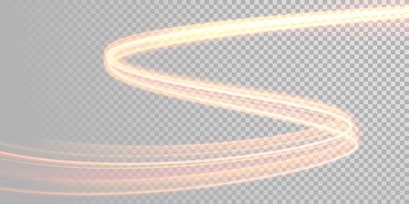 Vector magie éclatante piste de lumière. Fibre étincelle effet trace d'onde sur fond transparent. Vecteurs