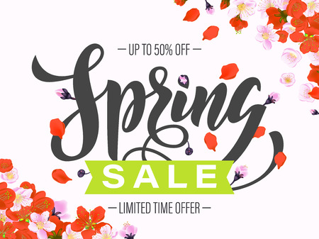 spring sale: Vector spring sale discount promotion poster. Hand drawn gift card. Calligraphy lettering design with poppy flowers on pink background.