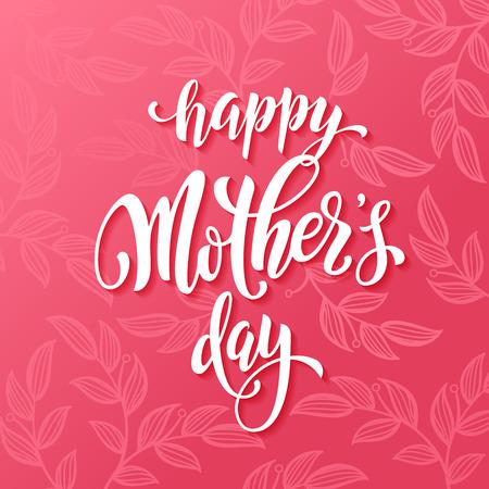 dia: Día de la Madre de tarjetas de felicitación del vector. Fondo rosado del estampado de flores de color rojo. Dibujado a mano las letras del título.