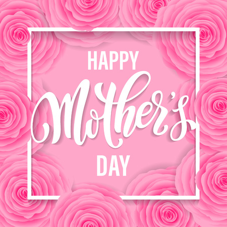 Mothers Day vector greeting card. Pink red floral rose pattern background. Hand drawn lettering title.