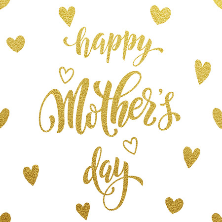 Mothers Day vector greeting card. Hand drawn gold glitter calligraphy lettering title with heart pattern. White background.
