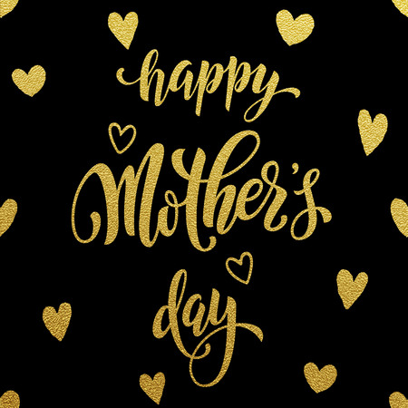 Mothers Day vector greeting card. Hand drawn gold glitter calligraphy lettering title with heart pattern. Black background. Illustration