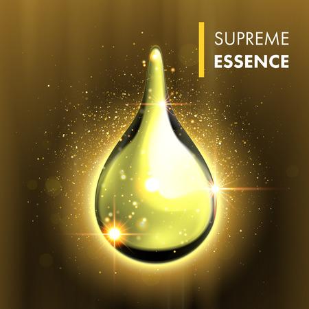 Vector oil drop. Supreme collagen essence. Premium gold shining serum droplet. Stock Illustratie