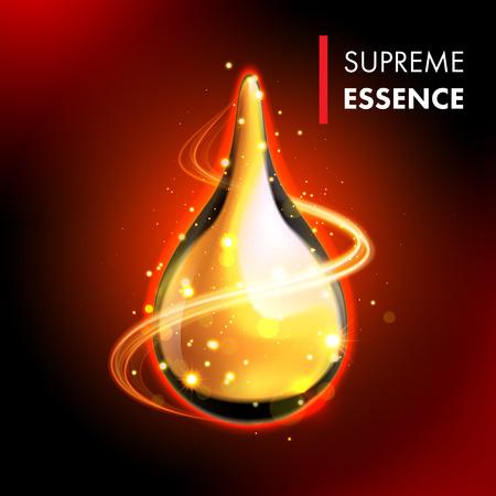 Vector oil drop. Supreme collagen essence. Premium gold shining serum droplet. Vettoriali