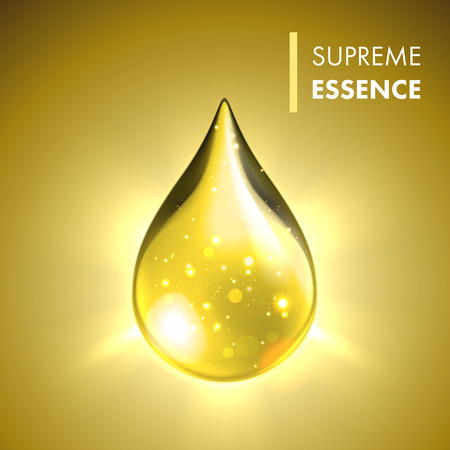 Vector oil drop. Supreme collagen essence. Premium gold shining serum droplet.