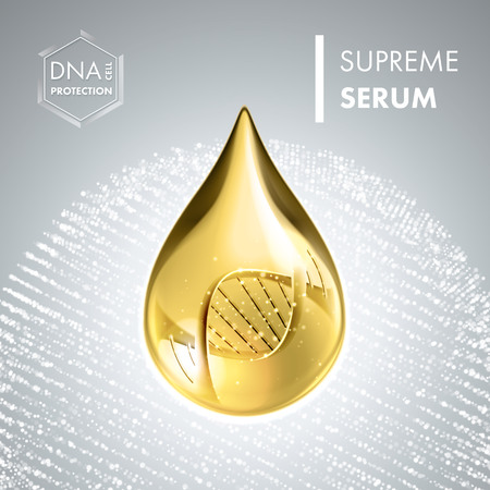 supreme: Supreme collagen oil drop essence with DNA helix. Premium shining serum droplet. Vector illustration.