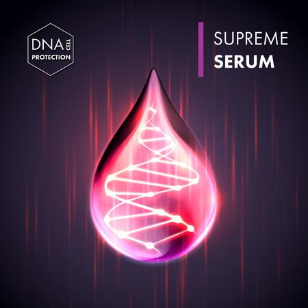 focusing: Supreme collagen oil drop essence with DNA helix. Premium shining serum droplet. Vector illustration.