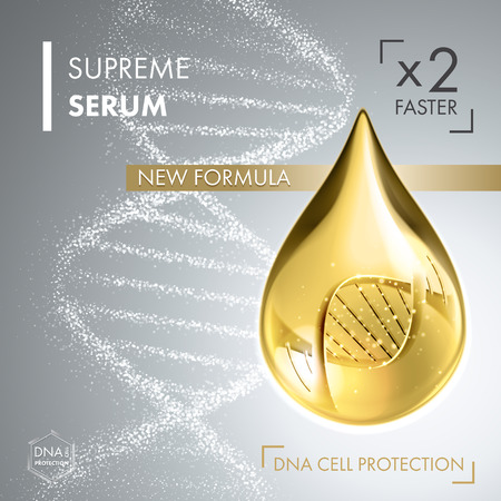 vitamins: Supreme collagen oil drop essence with DNA helix. Premium shining serum droplet. Vector illustration.